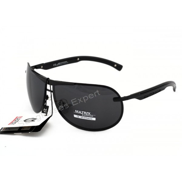 polarized sunglass lenses 5pi1  Matrix Collection Aviator Design Polarized Sunglasses Grey Smoke Lenses  Black Frame